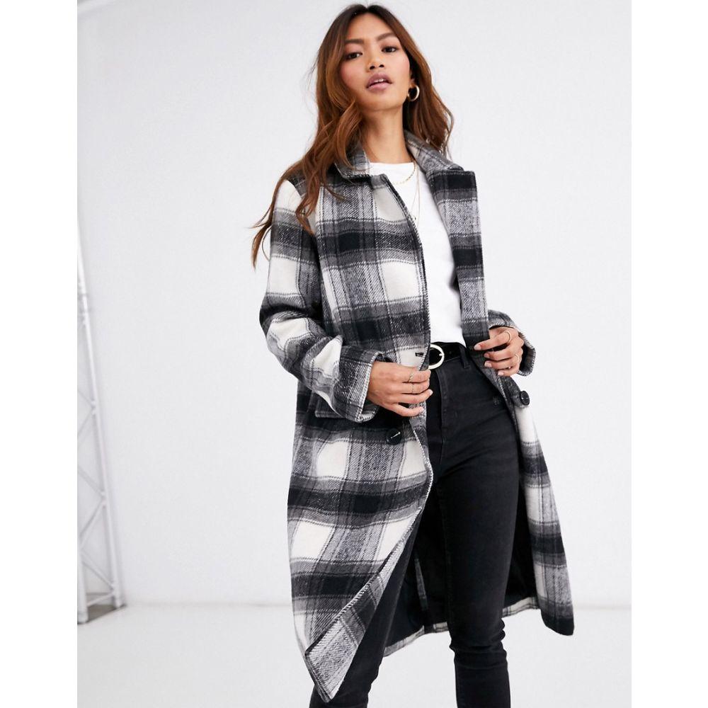 キューイーディーロンドン QED London レディース コート アウター【double breasted coat in brushed check】Black/white