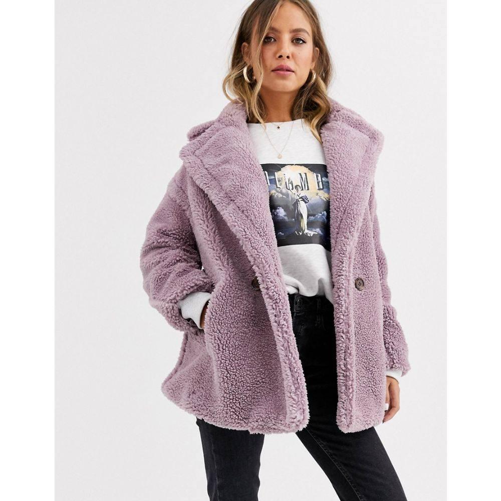 キューイーディーロンドン QED London レディース コート テディベアコート アウター【double breasted teddy coat】Lilac