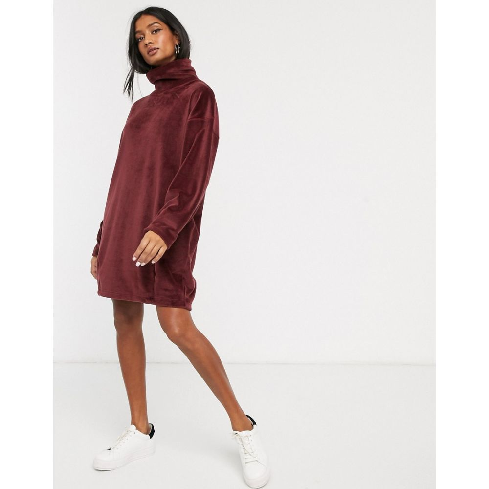 Miss Foxy Womens Maroon Sleeveless Jumper Dress with Lace Up Detail