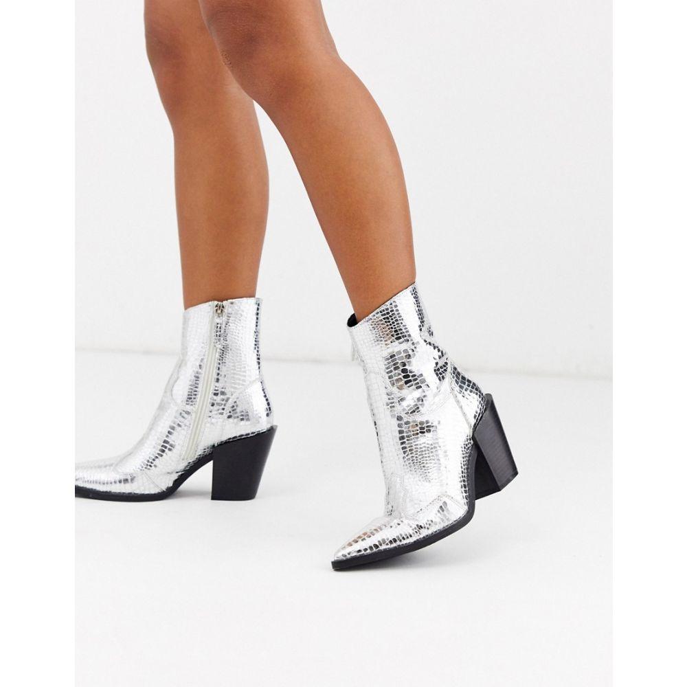 ミスガイデッド Missguided レディース ブーツ カウボーイブーツ シューズ・靴【cowboy boot in silver】Silver