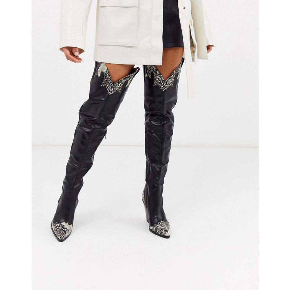 ミスガイデッド Missguided レディース ブーツ ウエスタンブーツ シューズ・靴【thigh high snake western detail boot in black】Black