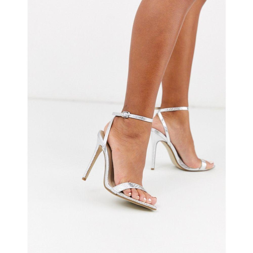 ミスガイデッド Missguided レディース サンダル・ミュール シューズ・靴【pointed toe barely there heeled sandals in silver】Silver