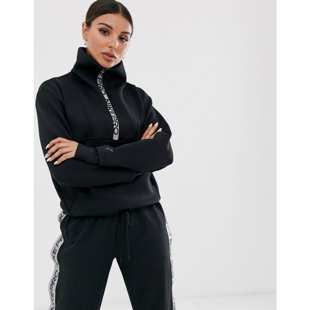 ナイキ Nike Training レディース スウェット・トレーナー トップス【Nike Pro Training half zip sweatshirt in black】Black/metallic silve