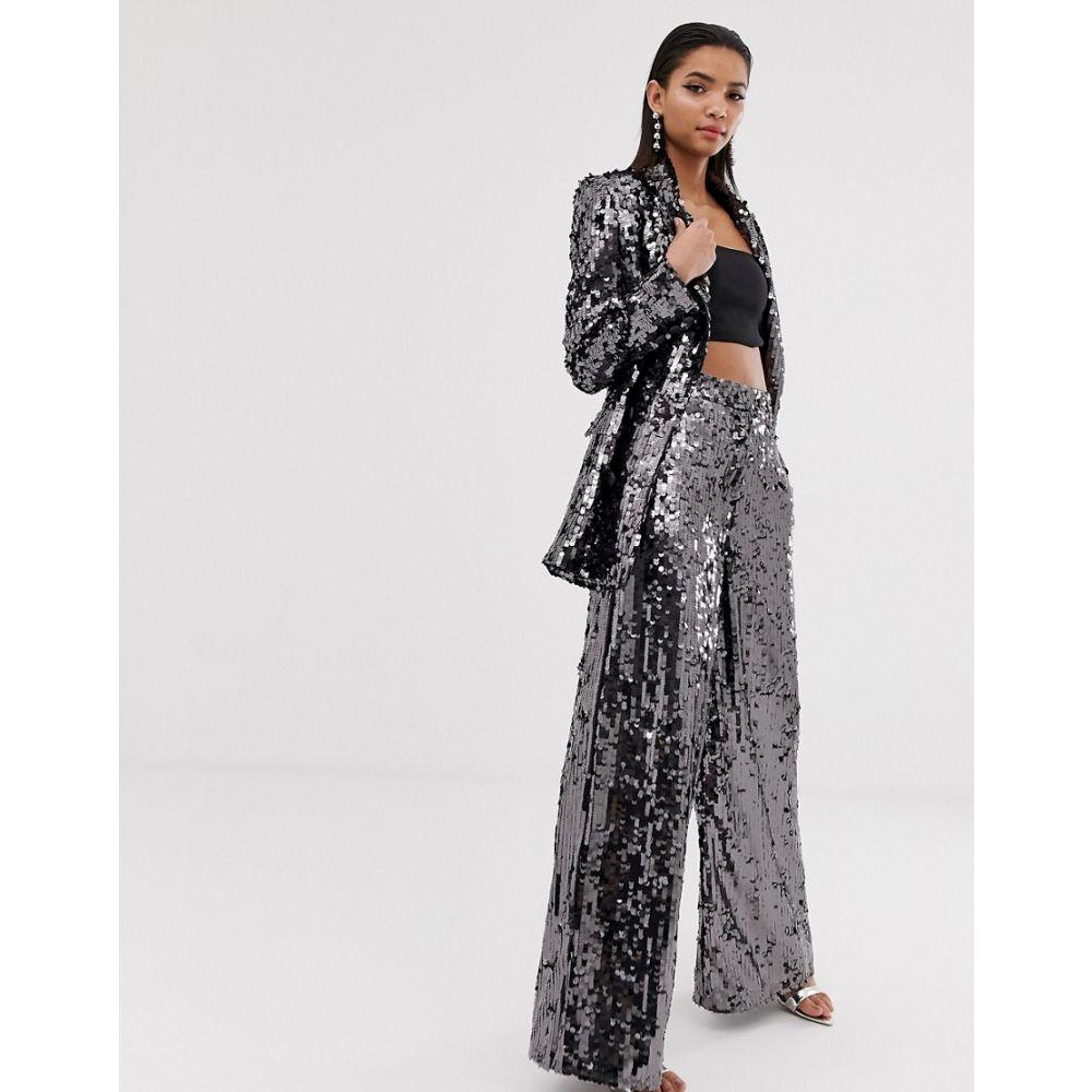 エイソス ASOS EDITION レディース ボトムス・パンツ ワイドパンツ【sequin wide leg flare trouser】Charcoal