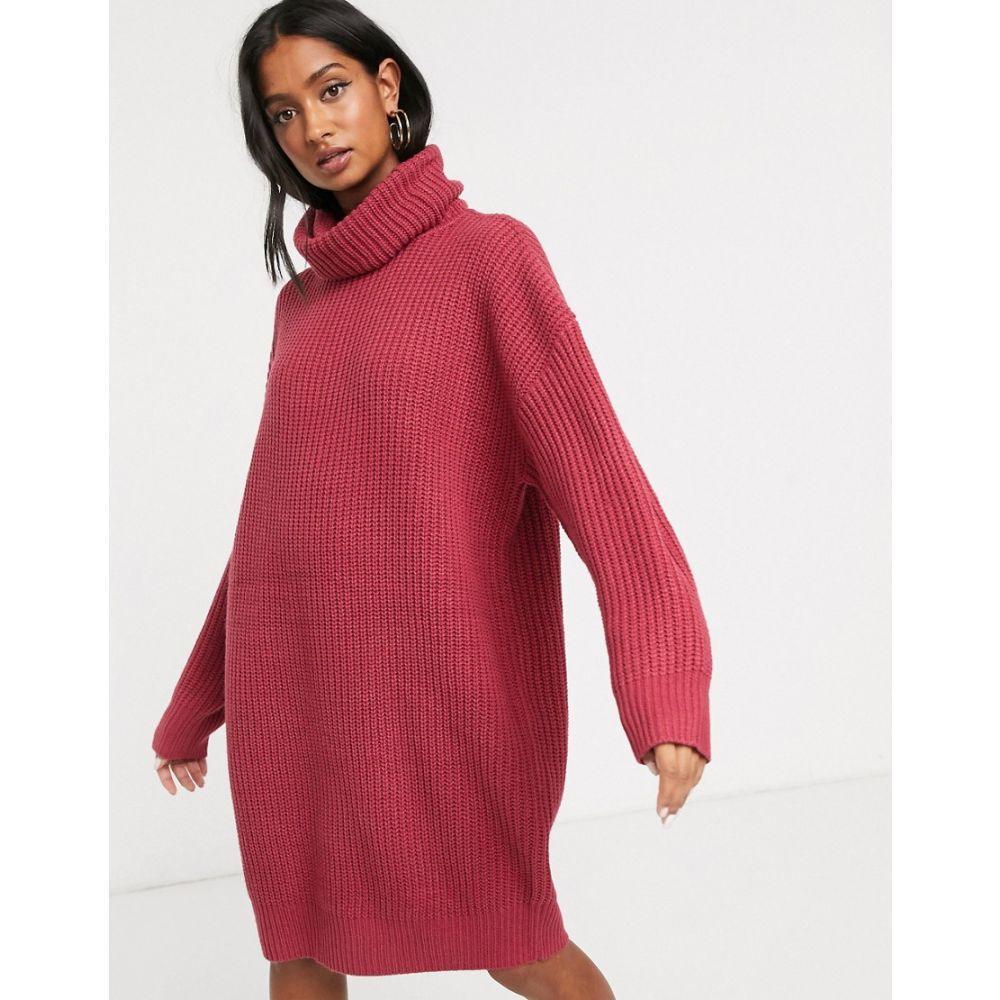 ミーヒャラウンジ Micha Lounge レディース ワンピース ワンピース・ドレス【heavy rib rollneck knitted dress with balloon sleeve】Raspberry