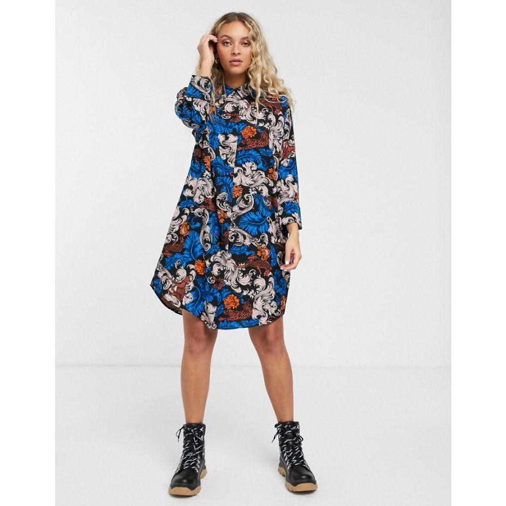 モンキー Monki レディース ワンピース シャツワンピース ワンピース・ドレス【printed midi shirt dress in blue】Blue