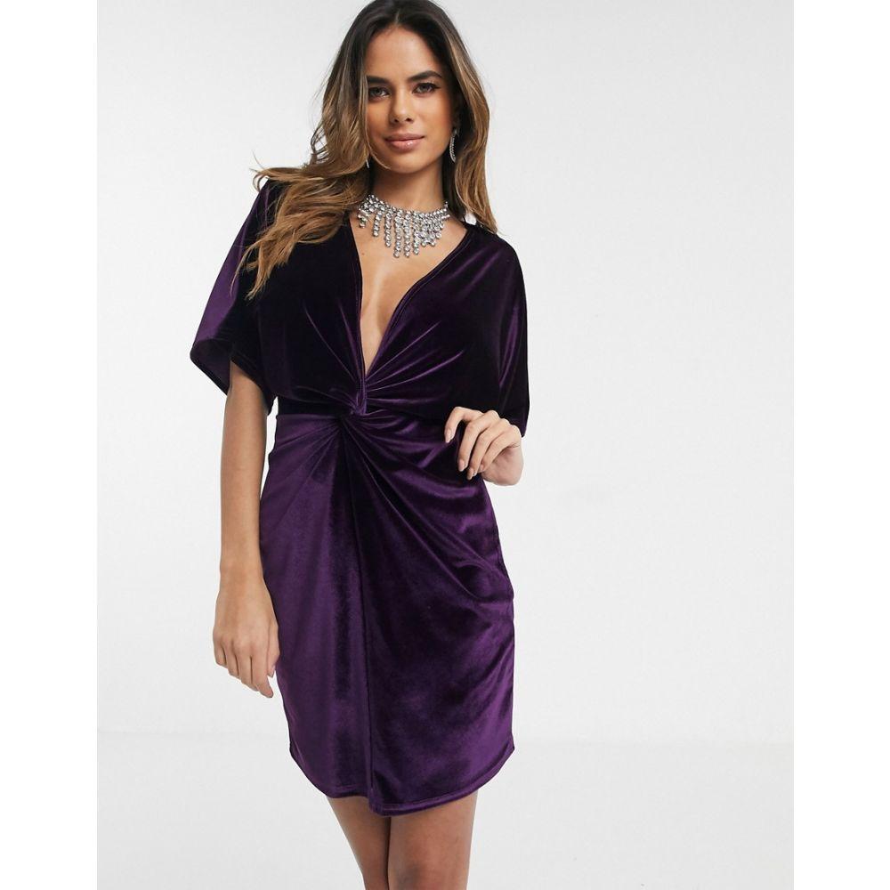 ミスガイデッド Missguided レディース ボディコンドレス ミニ丈 ワンピース・ドレス【twist front bodycon velvet mini dress in purple】Purple