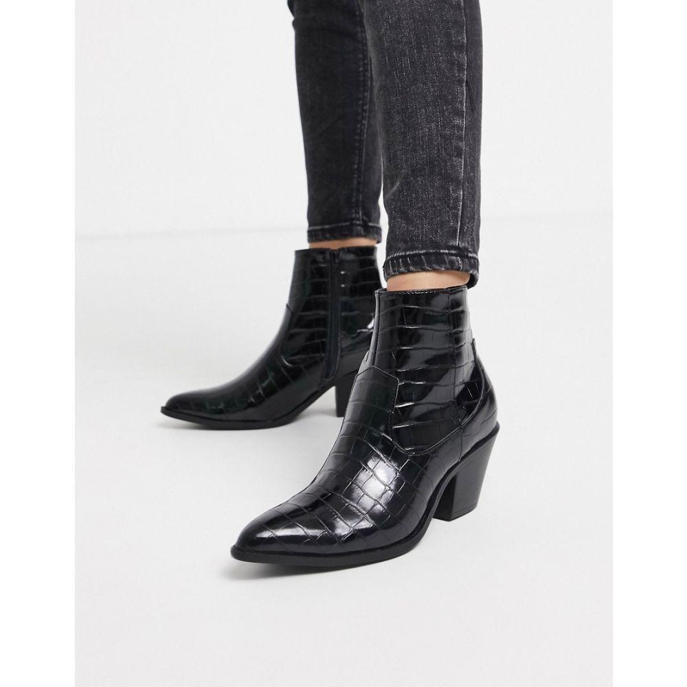 ニュールック New Look レディース ブーツ ウェスタンブーツ シューズ・靴【western heeled boots in black】Black