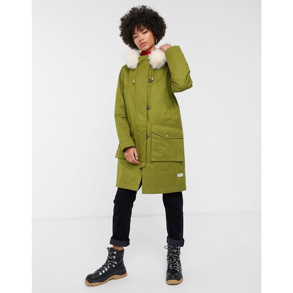 パーカ ロンドン Parka London レディース コート フード アウター【Aria parka coat with faux fur lined hood】Moss green