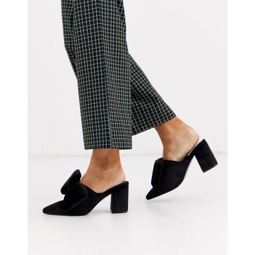 エイソス ASOS DESIGN レディース サンダル・ミュール シューズ・靴【Sweetness block heel bow mules in black velvet】Black velvet
