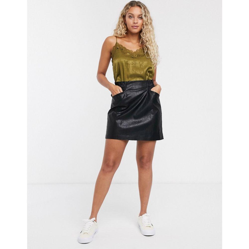 オンリー Only レディース ミニスカート スカート【leather look skirt with pocket detail in black】Black