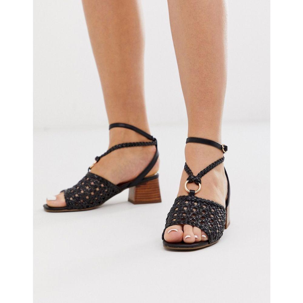 リバーアイランド River Island レディース サンダル・ミュール シューズ・靴【woven sandals with block heel in black】Black