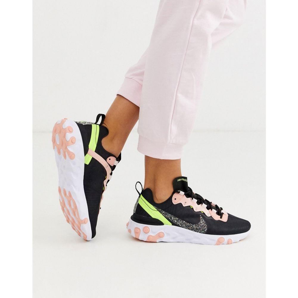 ナイキ Nike レディース スニーカー シューズ・靴【black and pink Regrind React Element 55 trainers】Black/volt
