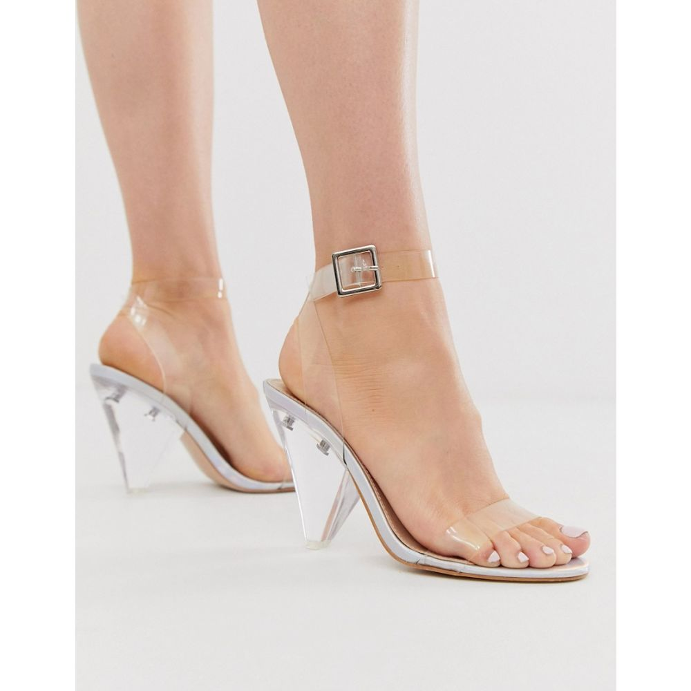 パブリックディザイア Public Desire レディース サンダル・ミュール シューズ・靴【Verity clear cone heeled sandals in irridescent metallic】Iridescent