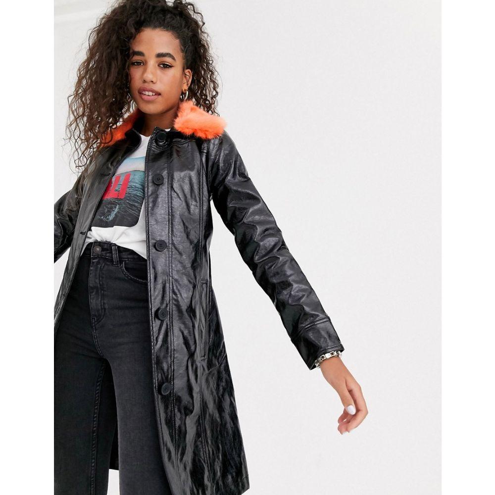 ペペジーンズ Pepe Jeans レディース トレンチコート アウター【faux leather trench coat with faux fur collar】Black