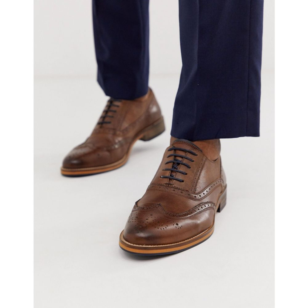 エイソス ASOS DESIGN メンズ 革靴・ビジネスシューズ メダリオン シューズ・靴【brogue shoes in brown leather with natural sole and colour details】Brown
