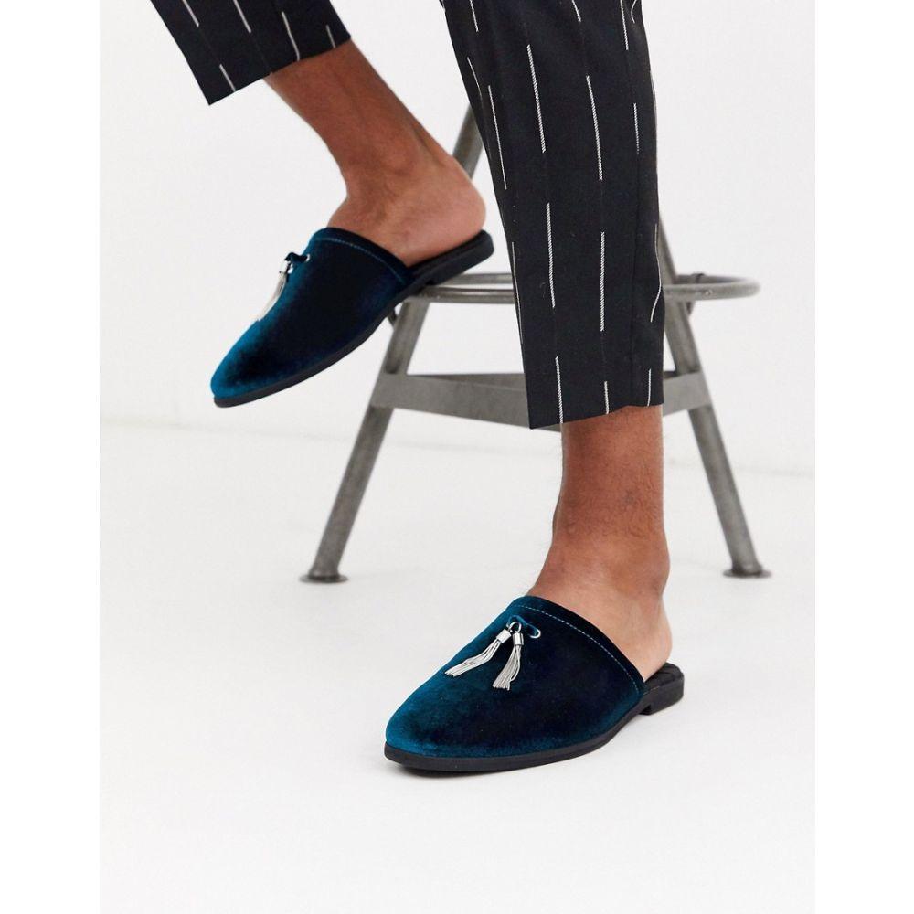 エイソス ASOS DESIGN メンズ ローファー シューズ・靴【backless mule loafer in teal velvet with silver tassel detail】Blue