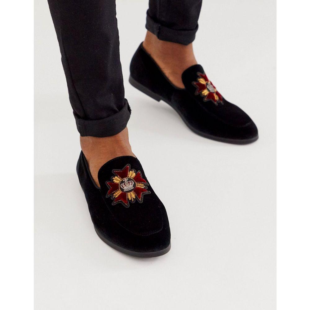 エイソス ASOS DESIGN メンズ ローファー シューズ・靴【loafers in black velvet with badge detail】Black