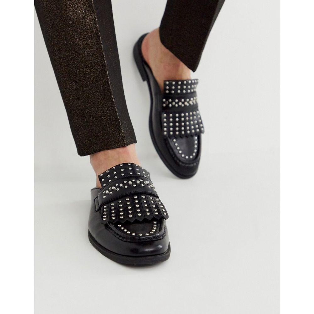 エイソス ASOS DESIGN メンズ ローファー シューズ・靴【backless mule loafer in black faux leather with fringe and studding detail】Black