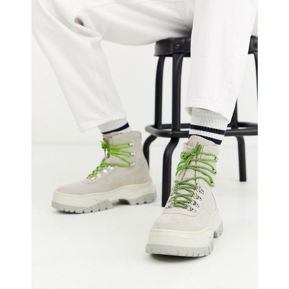エイソス ASOS DESIGN メンズ ブーツ レースアップブーツ シューズ・靴【lace up boot in off white faux suede with chunky sole】White