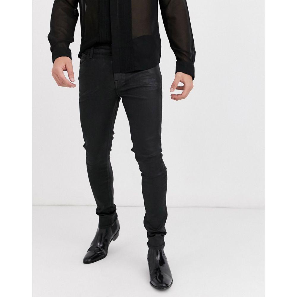 エイソス ASOS DESIGN メンズ ジーンズ・デニム ボトムス・パンツ【super skinny coated leather look jeans in black】Black