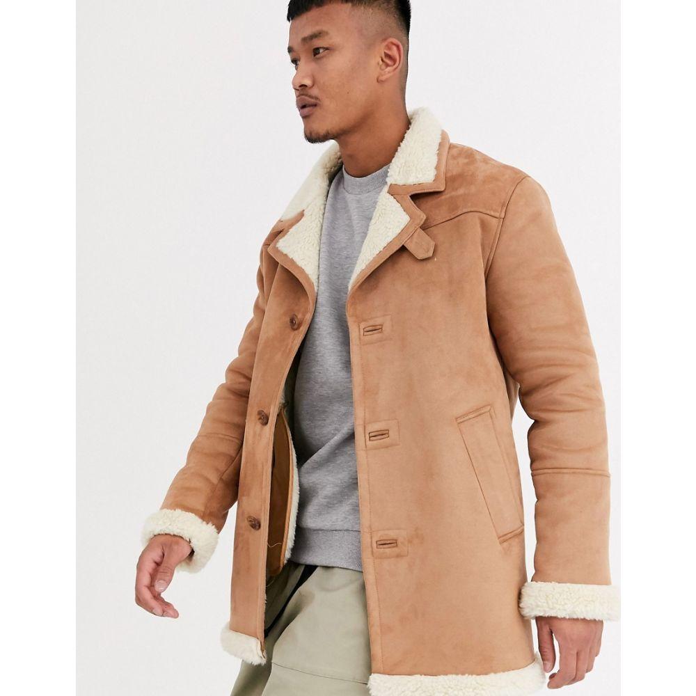 エイソス ASOS DESIGN メンズ レザージャケット アウター【faux suede jacket in tan with ecru teddy lining】Tan