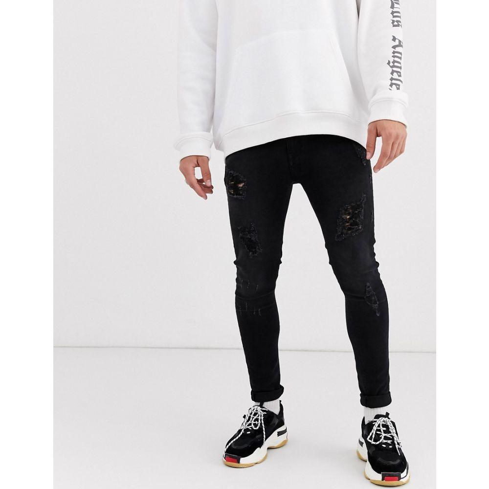 エイソス ASOS DESIGN メンズ ジーンズ・デニム ボトムス・パンツ【spray on jeans in power stretch in washed black with heavy rips】Washed black