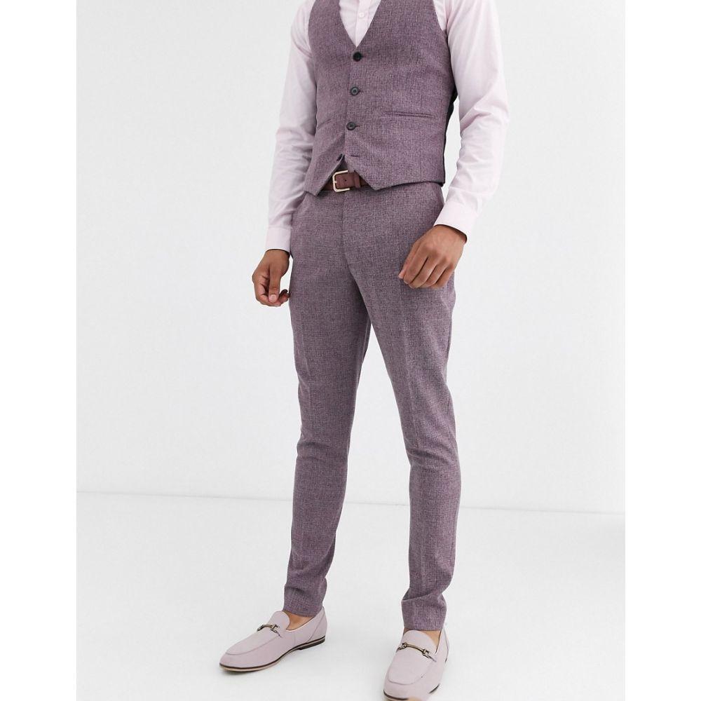 エイソス ASOS DESIGN メンズ スラックス ボトムス・パンツ【wedding super skinny suit trousers in crosshatch in wine twist】Burgundy