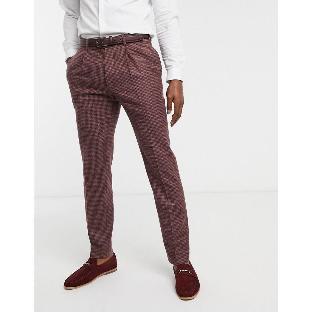 エイソス ASOS DESIGN メンズ スラックス ボトムス・パンツ【slim suit trousers in burgundy and grey 100% lambswool puppytooth】Burgundy