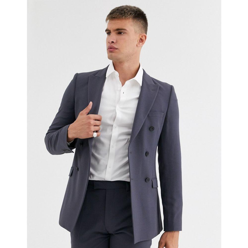 エイソス ASOS DESIGN メンズ スーツ・ジャケット アウター【super skinny double breasted suit jacket in black slate】Charcoal
