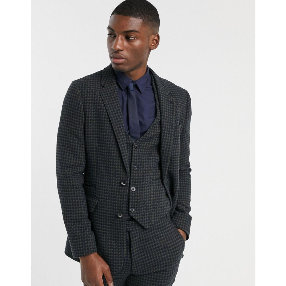 エイソス ASOS DESIGN メンズ スーツ・ジャケット アウター【skinny suit jacket in wool mix houndstooth in khaki】Khaki