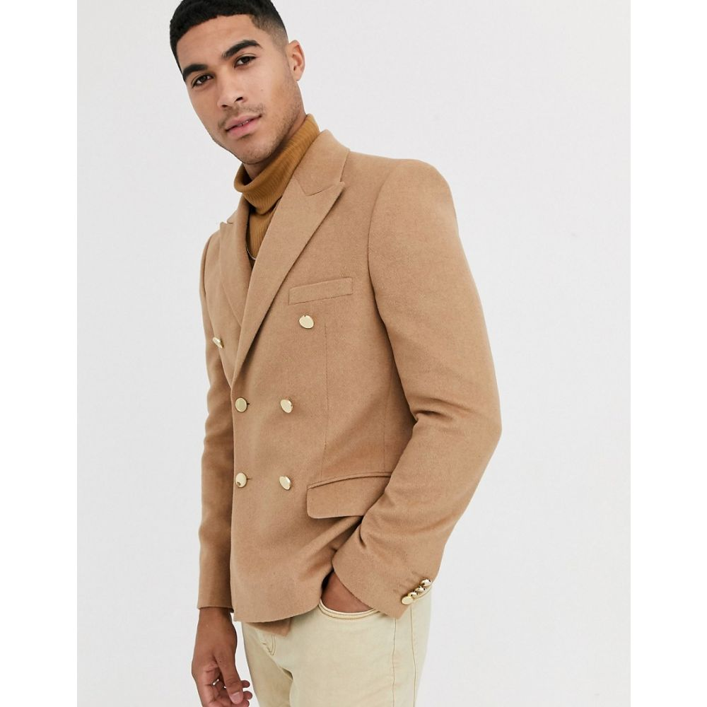 エイソス ASOS DESIGN メンズ スーツ・ジャケット アウター【slim double breasted blazer with gold buttons in brushed camel】Camel