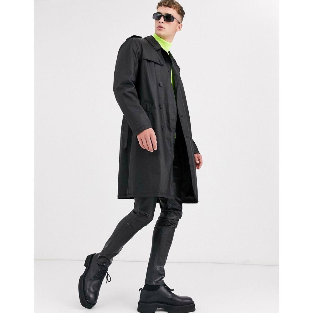 エイソス ASOS DESIGN メンズ トレンチコート アウター【double breasted trench coat in black PU】Black