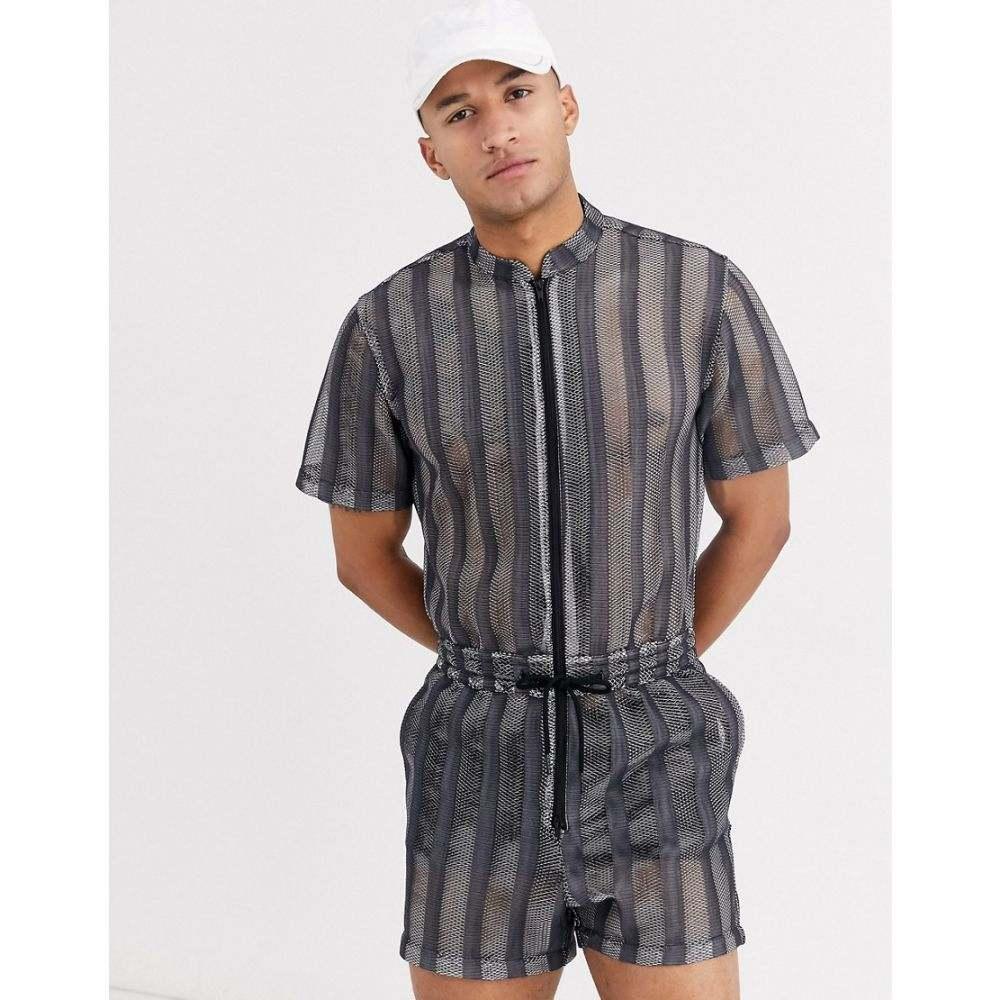 エイソス ASOS DESIGN メンズ ツナギ・オールインワン ツナギ ボイラースーツ トップス【short boilersuit in sheer mesh stripe】Black