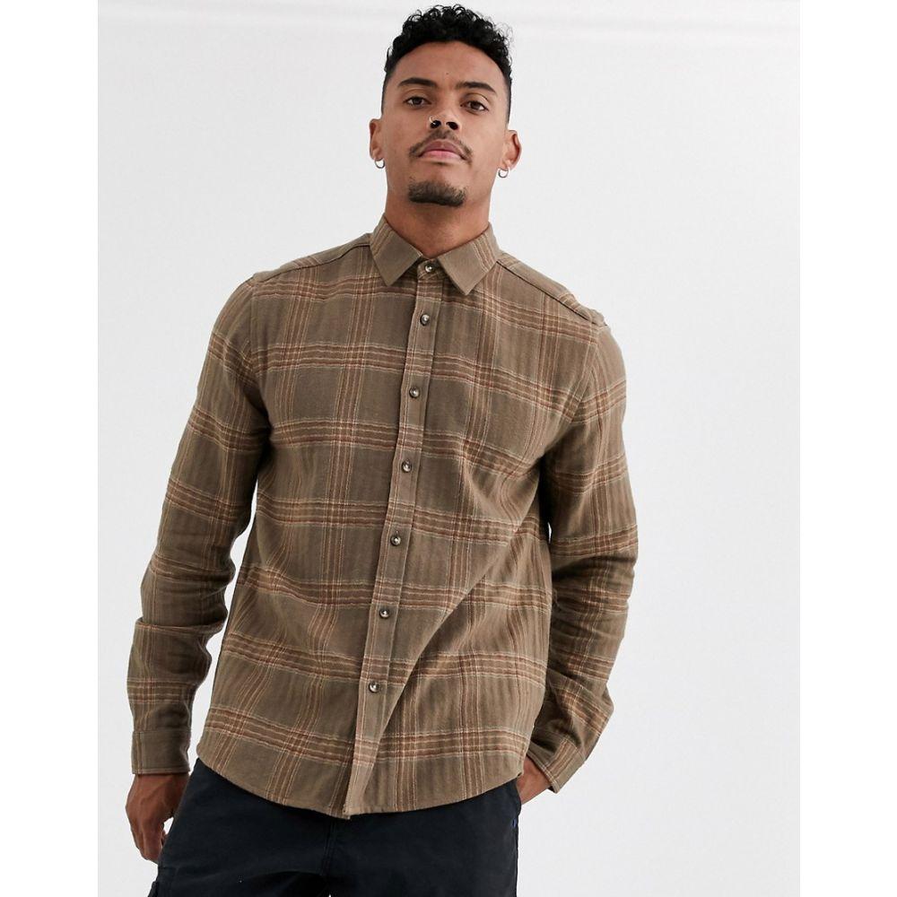 エイソス ASOS DESIGN メンズ シャツ オーバーシャツ トップス【regular fit check overshirt in brown texture】Brown