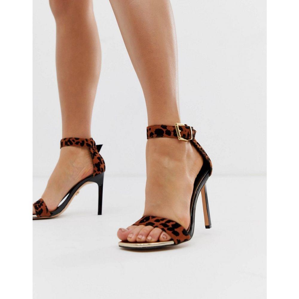 リバーアイランド River Island レディース サンダル・ミュール シューズ・靴【heeled sandals in leopard print】Brown print