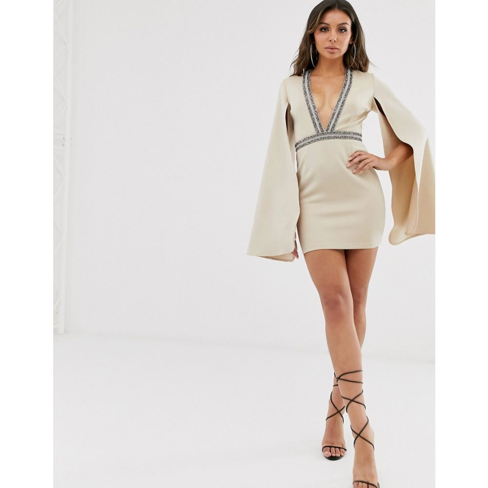 ラーレ Rare レディース ワンピース ミニ丈 ワンピース・ドレス【London embellished plunge front mini dress with cape detail in beige】Beige