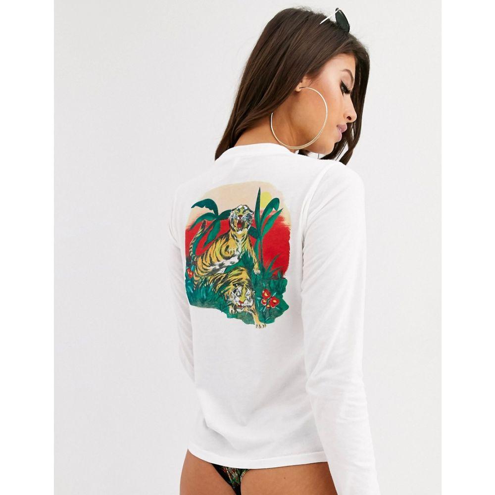 ルーカ RVCA レディース Tシャツ トップス【Tiger Attack beach t-shirt in white】White