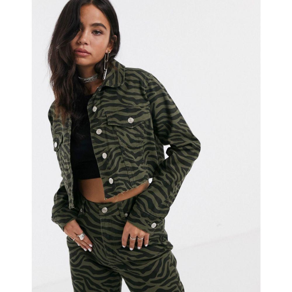 シグネチャーエイト Signature 8 レディース ジャケット Gジャン アウター【cropped denim jacket in zebra print】Olive
