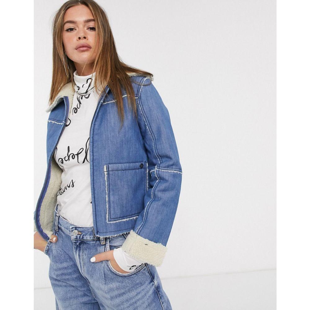ペペジーンズ Pepe Jeans レディース ジャケット Gジャン シアリング アウター【Saffie shearling collar denim jacket】blue denim