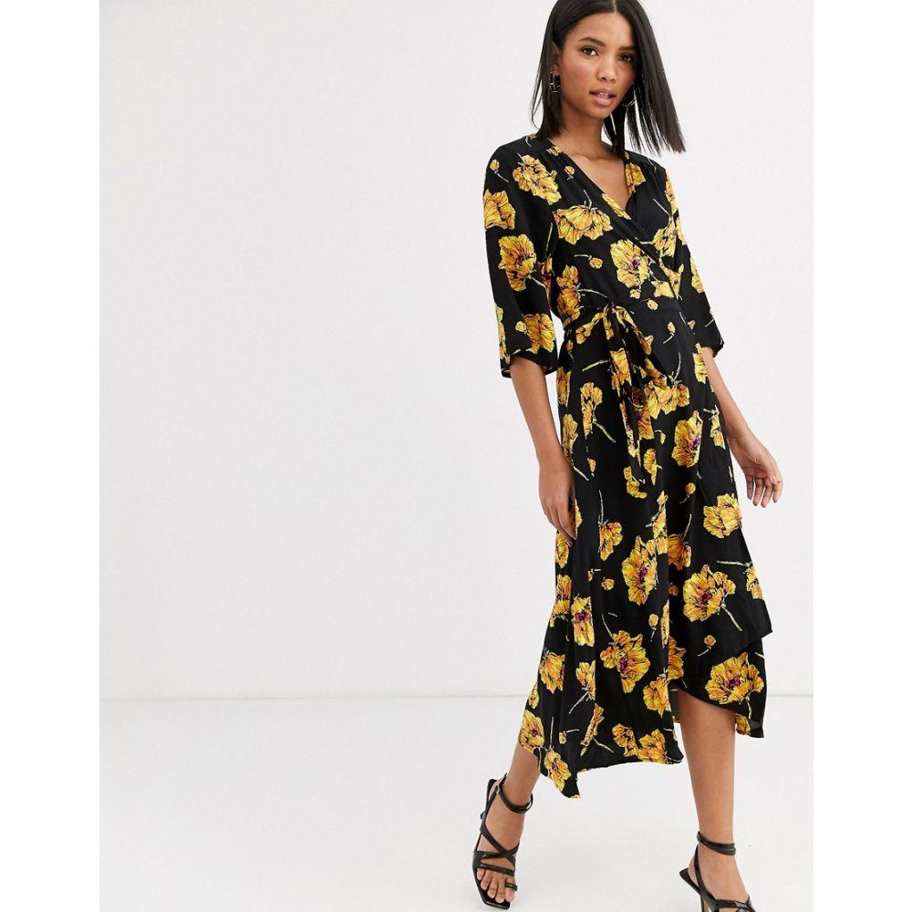 ヴィラ Vila レディース ワンピース ラップドレス ワンピース・ドレス【floral wrap dress】Black flower print