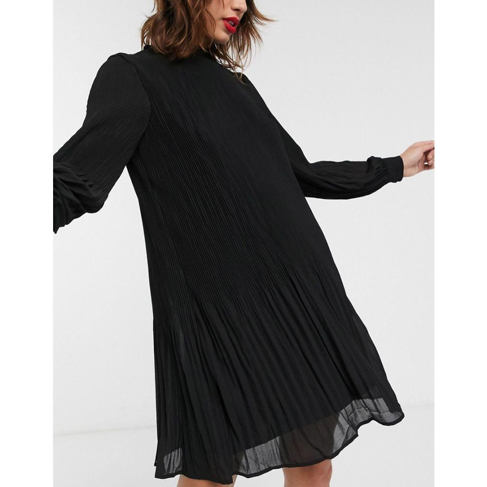 ウェアハウス Warehouse レディース ワンピース ミニ丈 ワンピース・ドレス【mini dress with pleats in black】Black