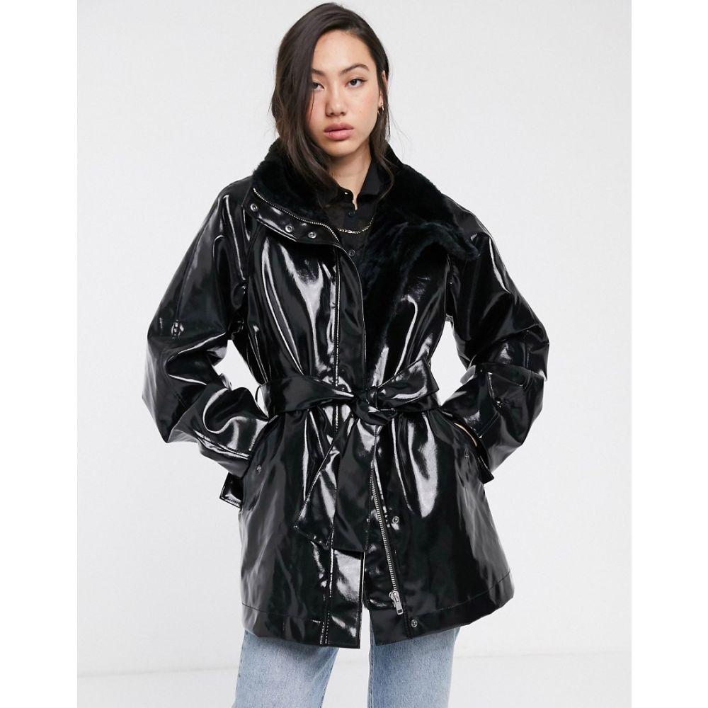 ウィークデイ Weekday レディース コート アウター【vinyl faux fur-lined belted coat in black】Black