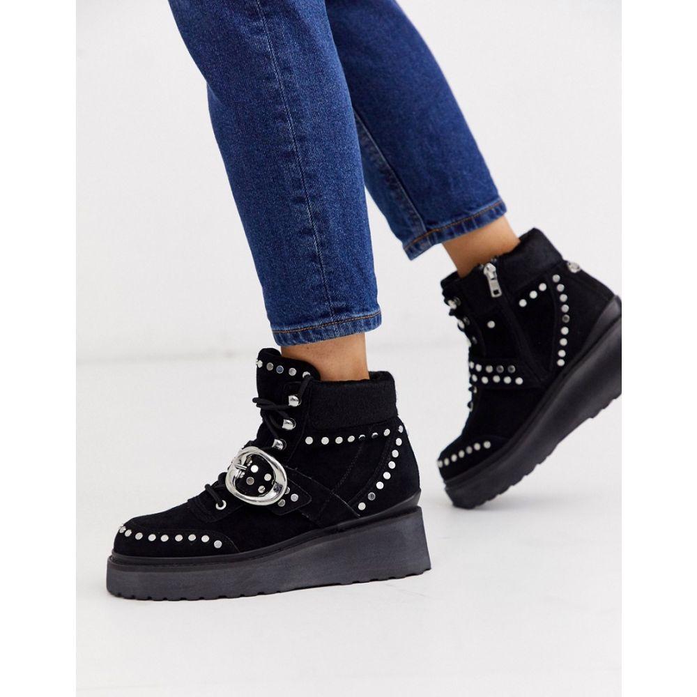 リバーアイランド River Island レディース ブーツ ウェッジソール シューズ・靴【studded wedge boot in black suede】Black