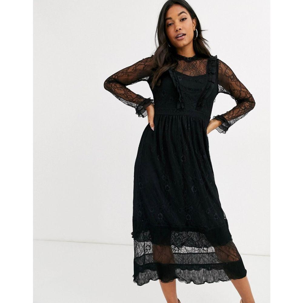 ワイ エー エス Y.A.S レディース ワンピース ミドル丈 ワンピース・ドレス【lace midi dress with ruffle detail in black】Black