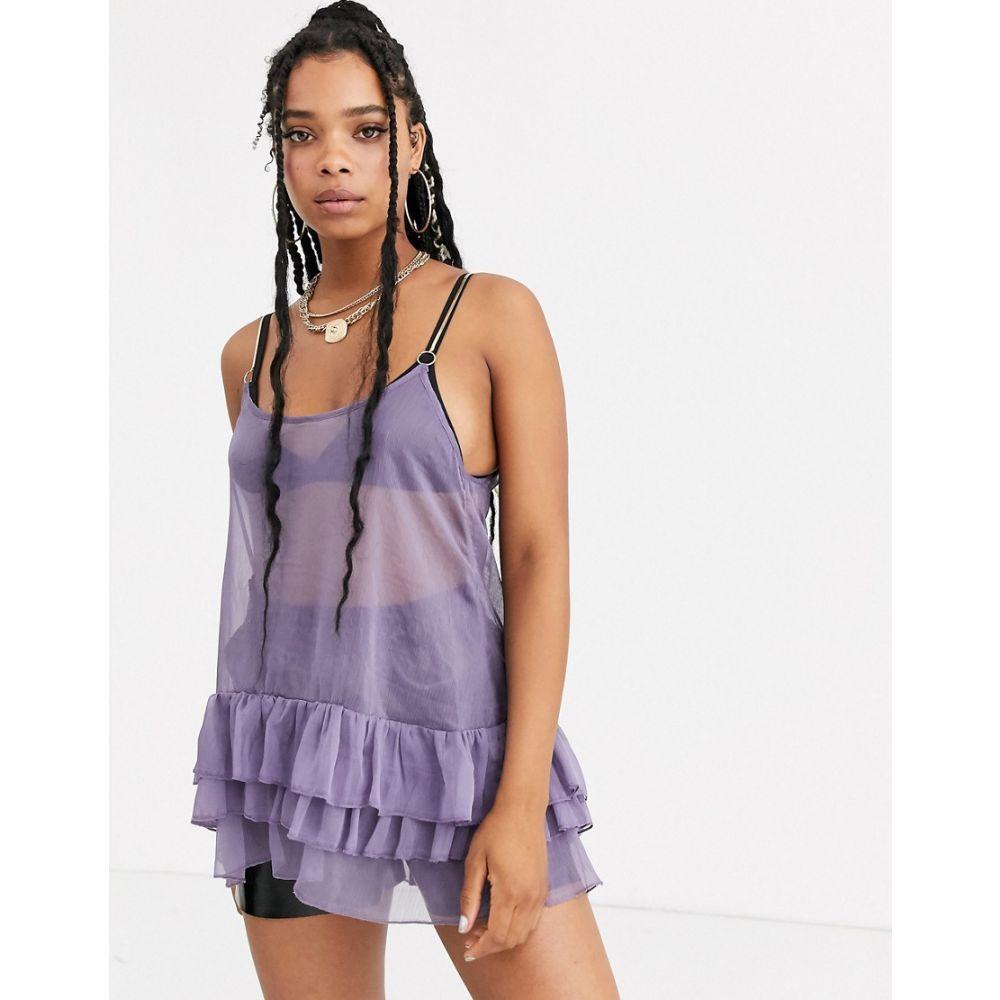 ZYA レディース ワンピース ミニ丈 ワンピース・ドレス【mesh mini dress with ruffles and gold straps】Purple