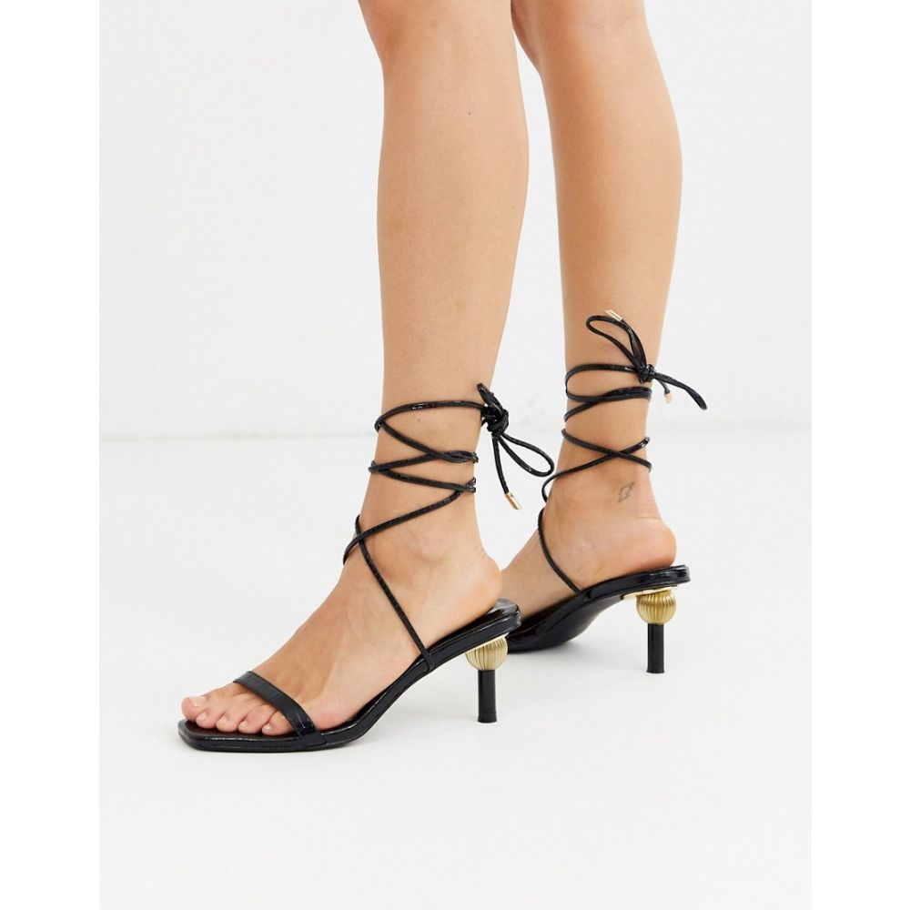 Z_Code_Z レディース サンダル・ミュール シューズ・靴【Hila ankle tie sandals with statement heel in black】Black