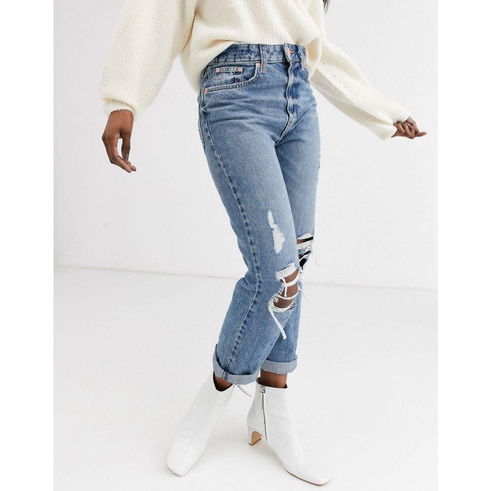 リバーアイランド River Island レディース ジーンズ・デニム ボトムス・パンツ【Stormi destroyed mom jeans in mid blue authentic】Mid auth