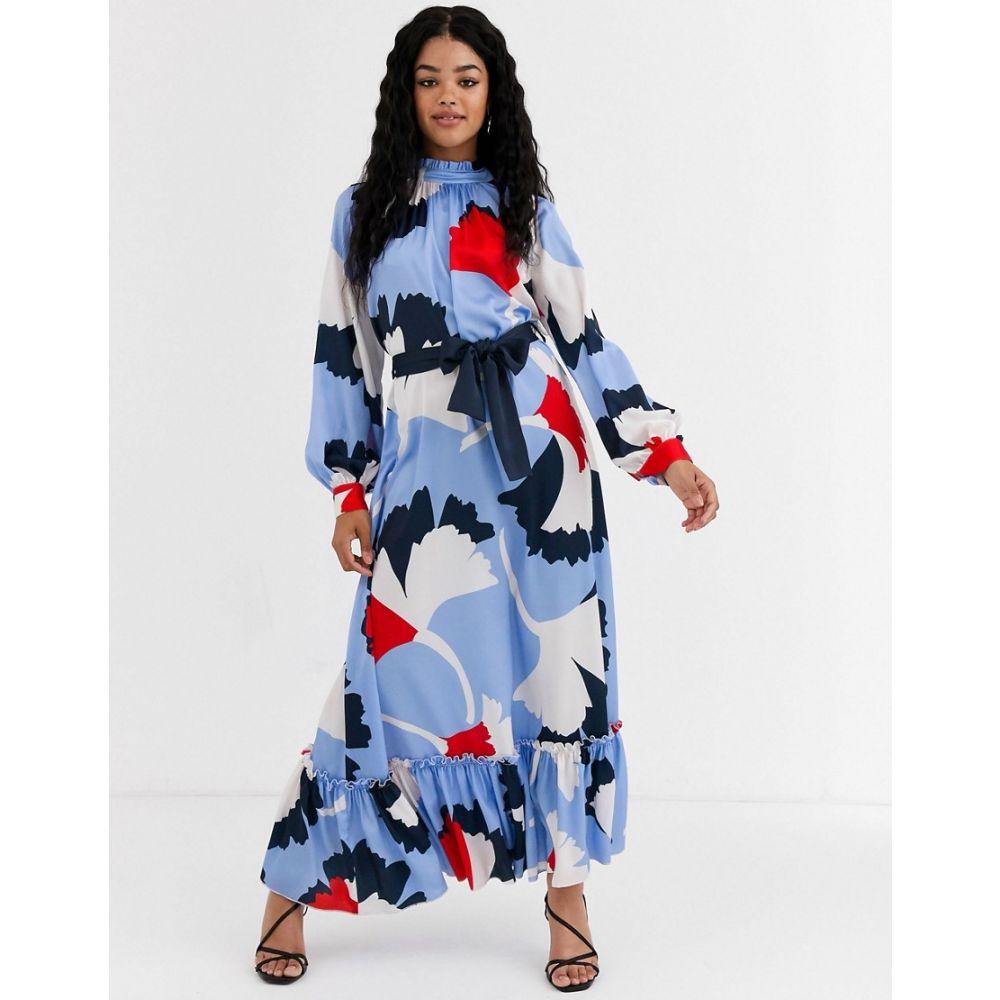 リカリッシュ Liquorish レディース ワンピース マキシ丈 ワンピース・ドレス maxi smock in abstract floral Blue multiTlF1K3cuJ