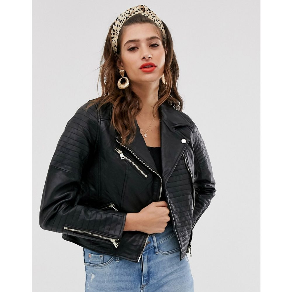 リバーアイランド River Island レディース レザージャケット アウター【real leather jacket in black】Black